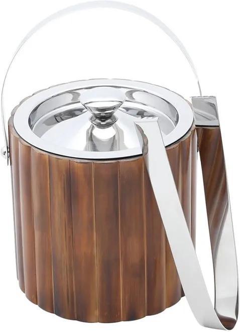 Balde De Gelo Com Alça E Pegador Aço Inox E Bamboo 1,8 Litros 27156 Prestige