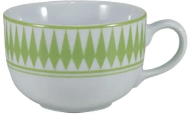 Xícara Café com Pires 100 ml Porcelana Schmidt - Dec. Helena Verde