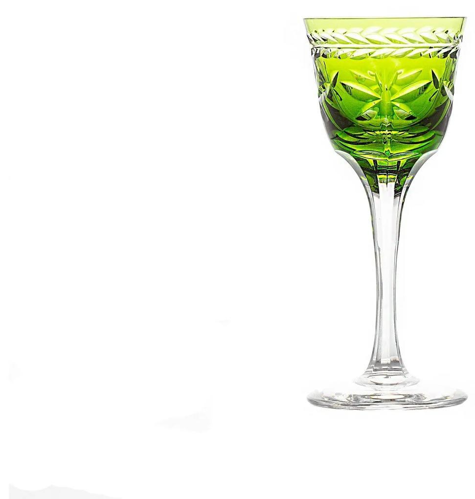 Taça de Cristal Lapidado Artesanal p/ Licor - Verde Claro - 87