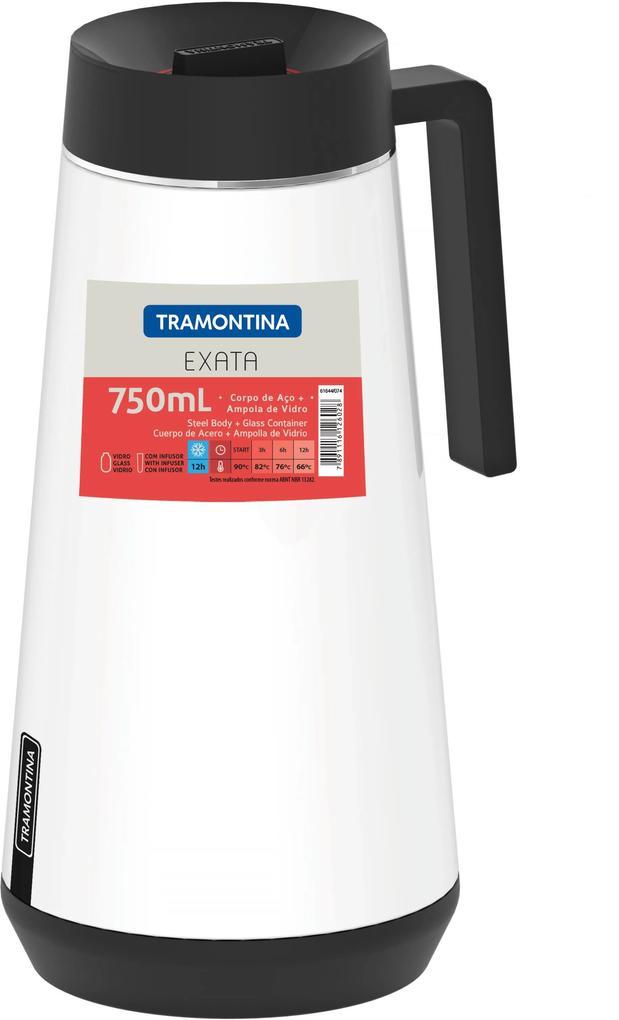 Garrafa Térmica Tramontina Exata Em Aço Inox Branco Com Infusor 750 Ml 61644074
