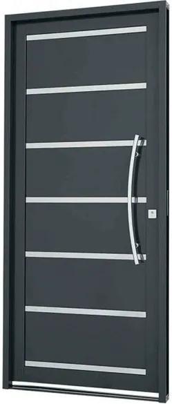 Porta Social sem Seteira com Lambris e Frisos Aço Cinza 217x98x8cm Esquerda Silenfort - 66122530 - Sasazaki - Sasazaki