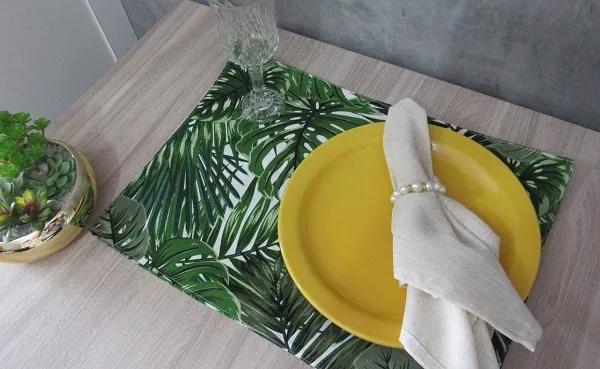 4 peças - lugar americano Floral Verde - repelente a agua