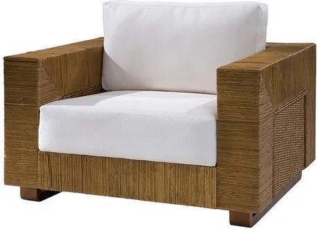 Poltrona Maden Assento cor Branco com Base Madeira Apui Revestido em Junco - 44822 Sun House
