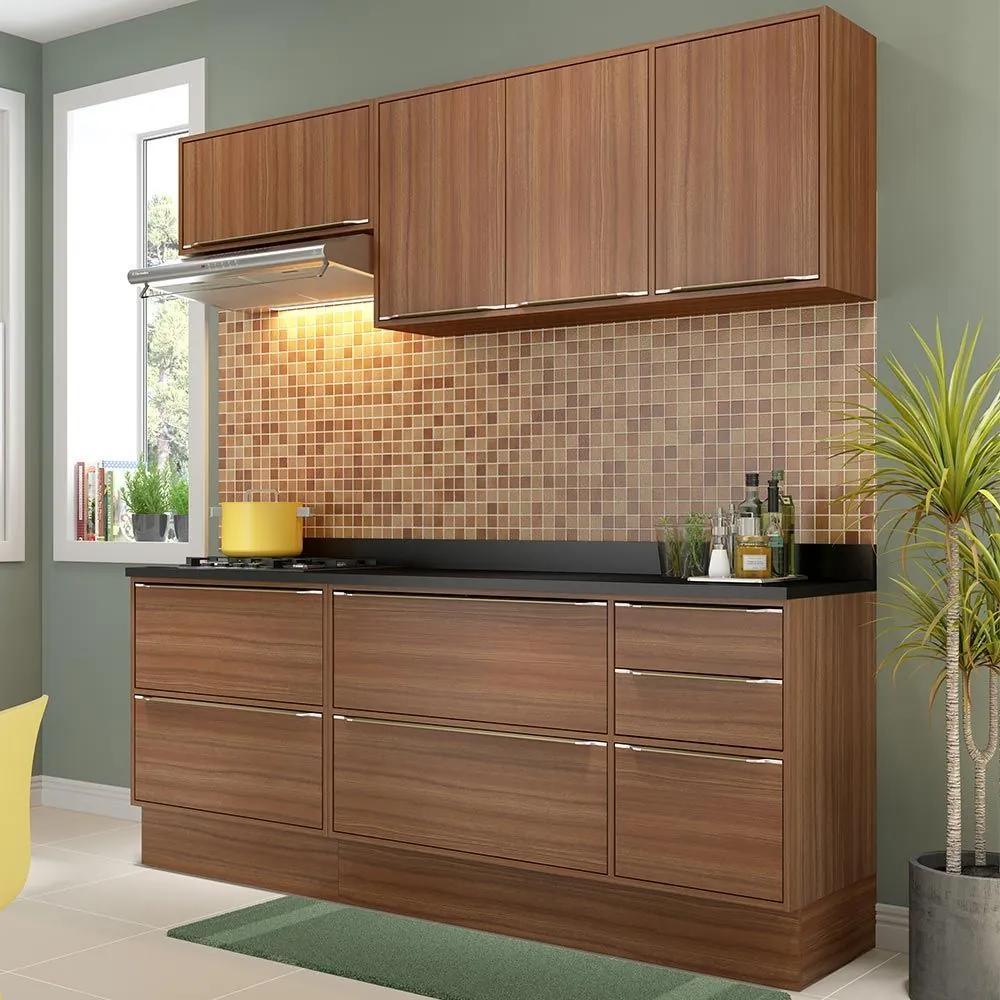 Cozinha Compacta 7 Portas Com Tampo Rodapé 5459r Nogueira/Malt - Multimóveis