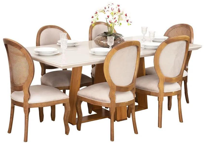 Conjunto Sala de Jantar Mesa Coyle com 6 Cadeiras Medalhão - Wood Prime 44669
