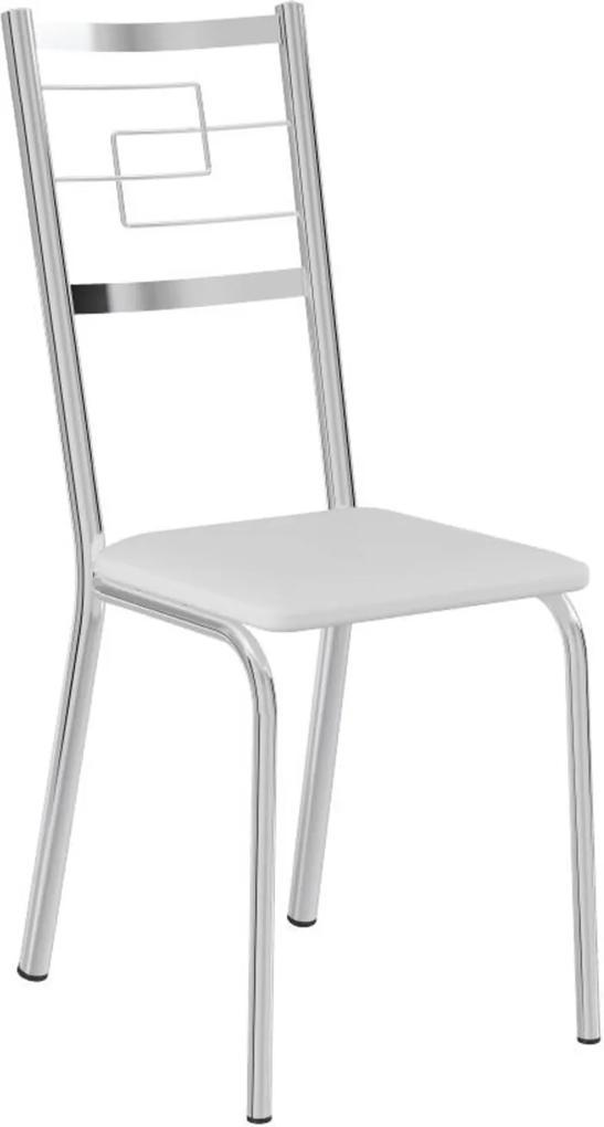 Cadeira Tubo Cromado Napa Branco Carraro