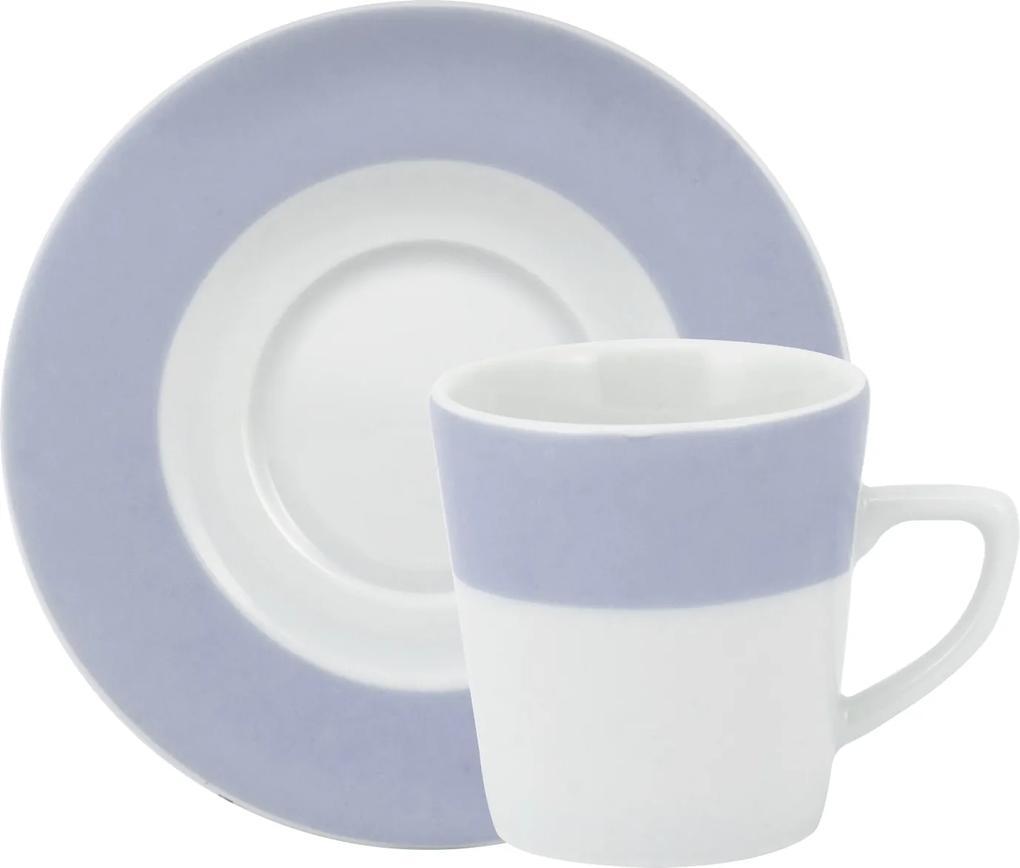 Xicara Café c/ Pires Porcelana Schmidt - Dec. Matte Azul