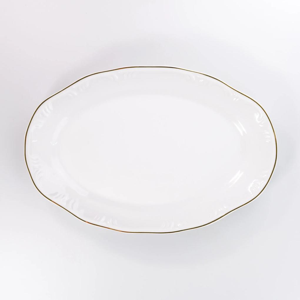 Travessa Rasa Oval 28 cm Porcelana Schmidt - Dec. Filetado Ouro Pomerode