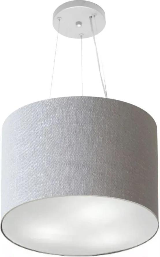 Lustre Pendente Cilíndrico Md-4183 Cúpula em Tecido 40x30cm Rustico Cinza - Bivolt