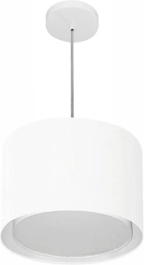Lustre Pendente Cilíndrico Duplo Vivare Md-4285 Cúpula em Tecido 35x30cm - Bivolt - Branco - 110V/220V (Bivolt)