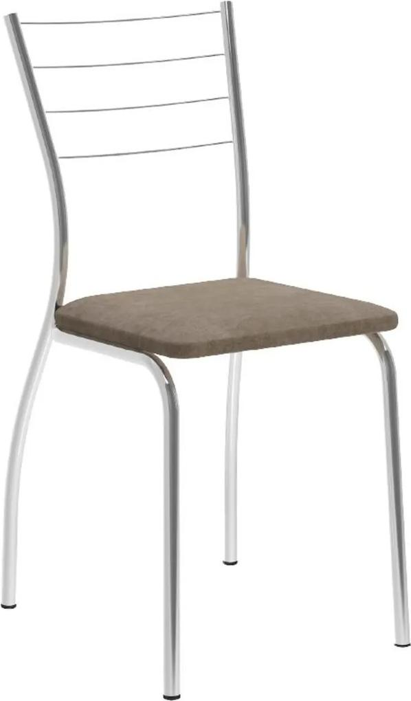 Cadeira Tubo Cromado Tecido Bege Carraro