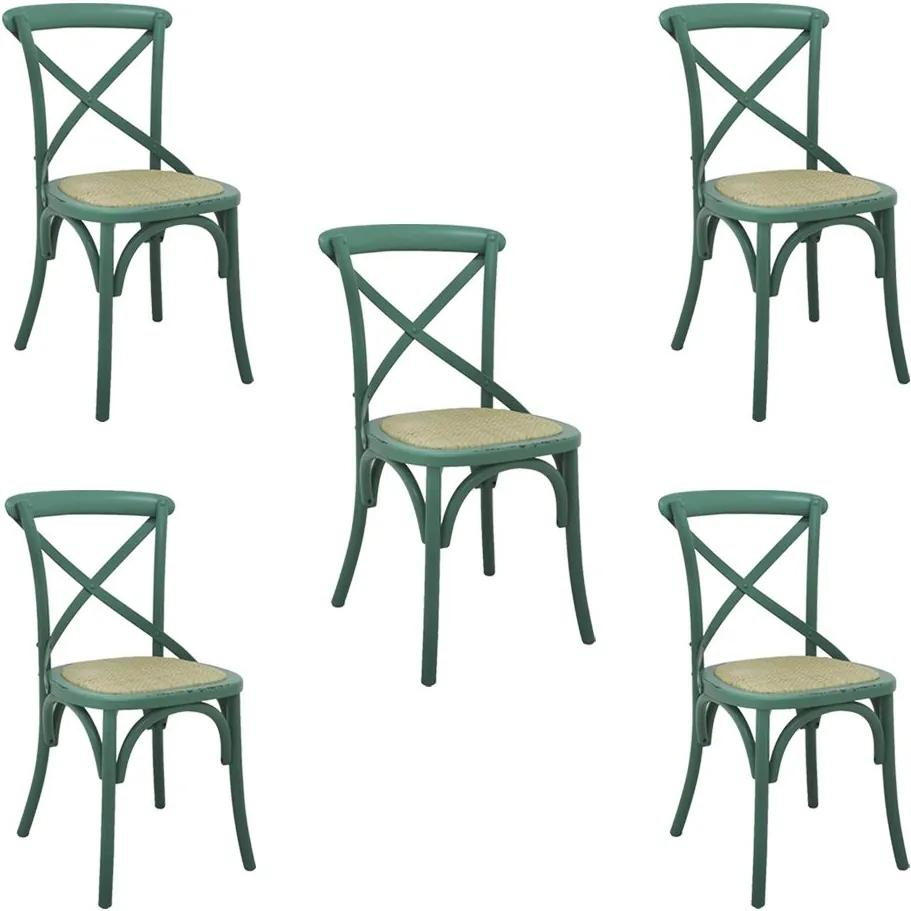 Kit 5 Cadeiras Decorativas Sala De Jantar Cozinha Danna Rattan Natural Verde - Gran Belo
