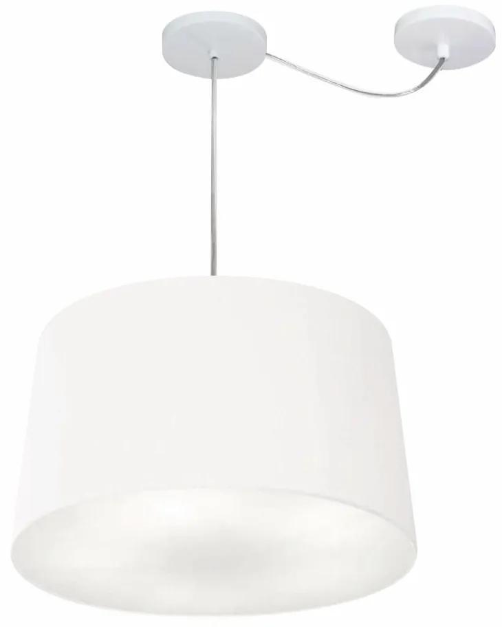 Lustre Pendente Cone Com Desvio de Centro Vivare Md-4277 Cúpula em Tecido 40x45cm - Bivolt - Branco - 110V/220V (Bivolt)