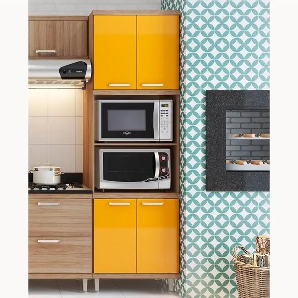 Armário para Forno e Micro-ondas 4 Portas Sicília - Argila Acetinado Texturizada e Laca Amarelo