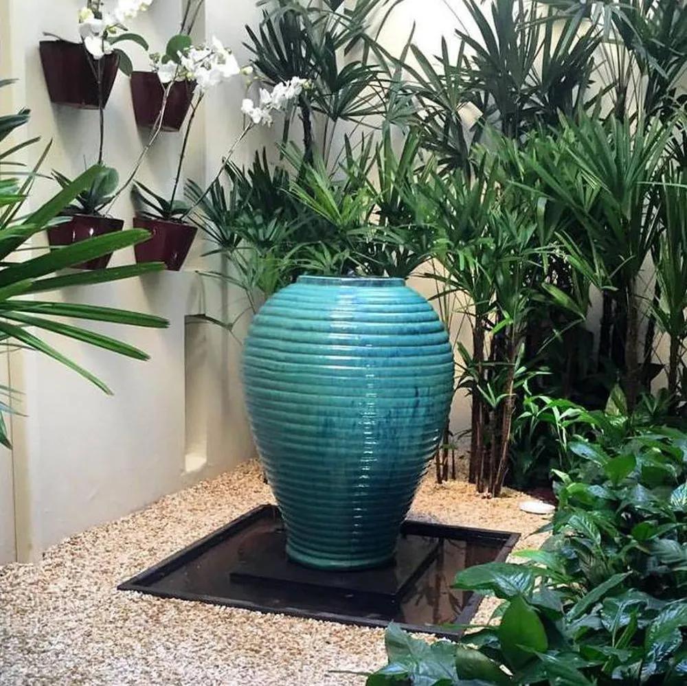 Vaso para Fonte Vietnamita Cerâmica Importado Pequeno Aqua D48cm x A68cm