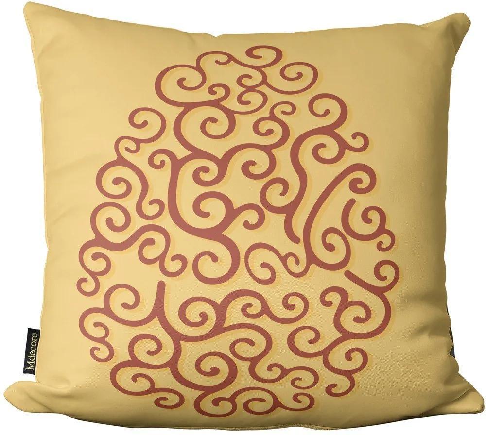 Capa para Almofada de Páscoa Ovo Arabesco Amarelo 45x4545x45cm