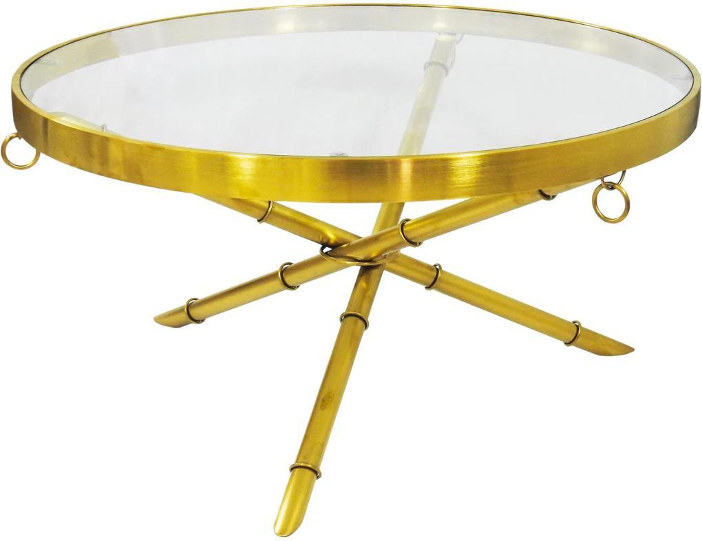 Mesa de Centro Dourada com Tampo De Vidro - 90x46cm