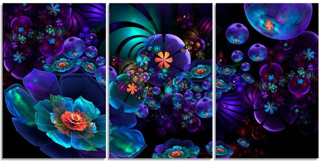Quadro Decorativo Para Sala Flor Roxa Abstrato