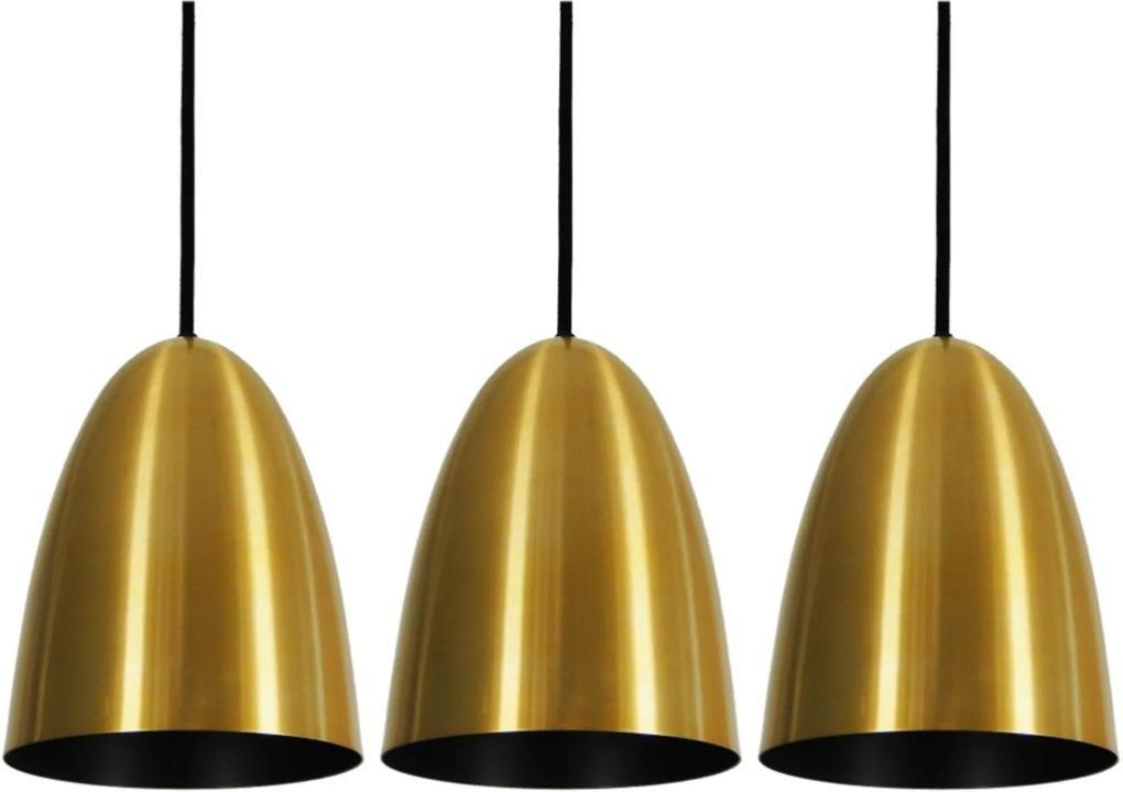 Pendente Taça Sunshine Dourado Preto Kit com 3 CASAH