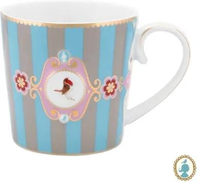 Caneca Grande Medallion Stripes Azul e Cáqui Love Birds Pip Studio