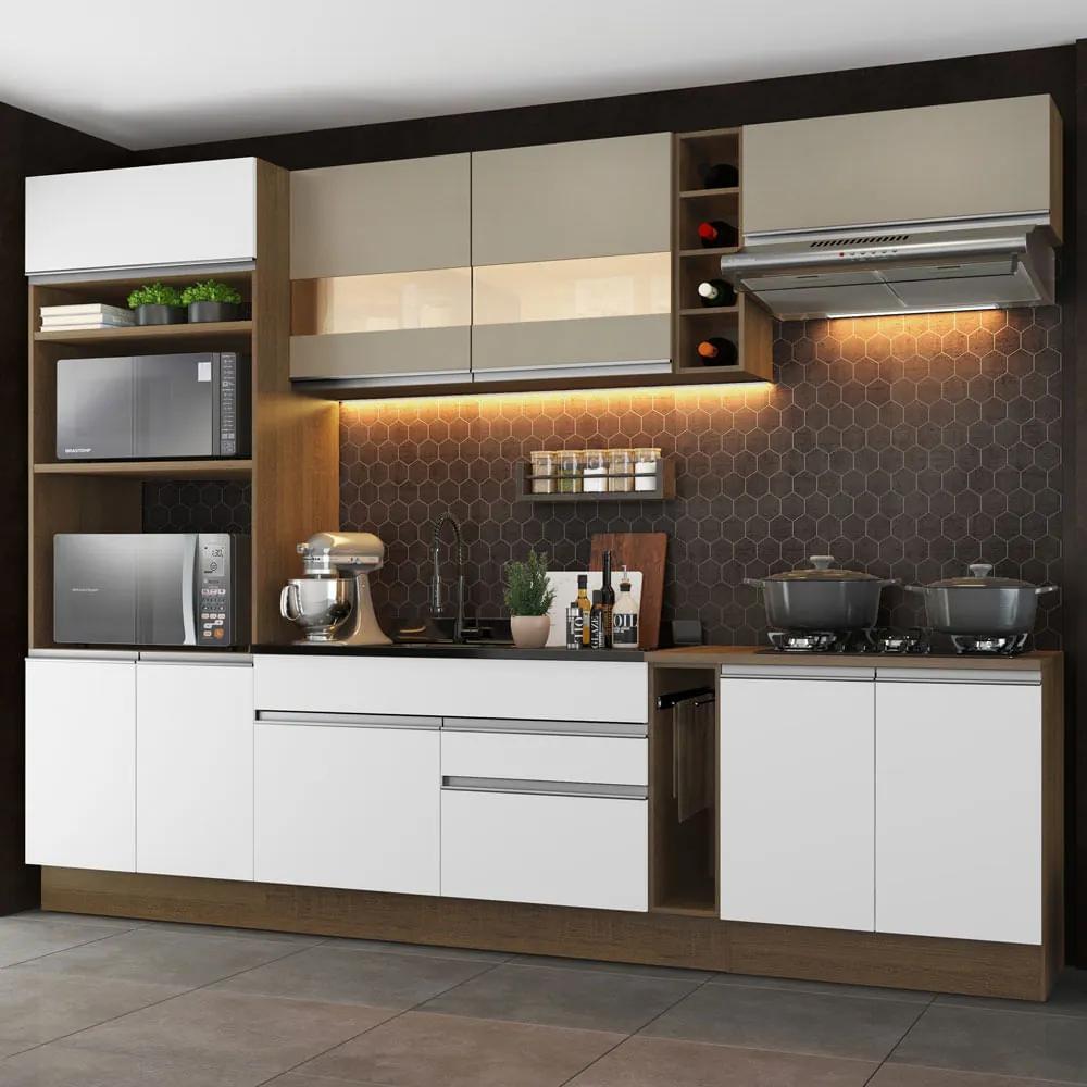 Cozinha Completa Madesa Vicenza com Armário e Balcão (Sem Tampo e Pia) Rustic/Branco/Crema Cor:Rustic/Branco/Crema