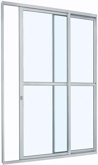 Porta de Alumínio de Correr Alumifit Branca com Divisão Central 2 Folhas Abertura Direita 216x160x6 - Sasazaki - Sasazaki