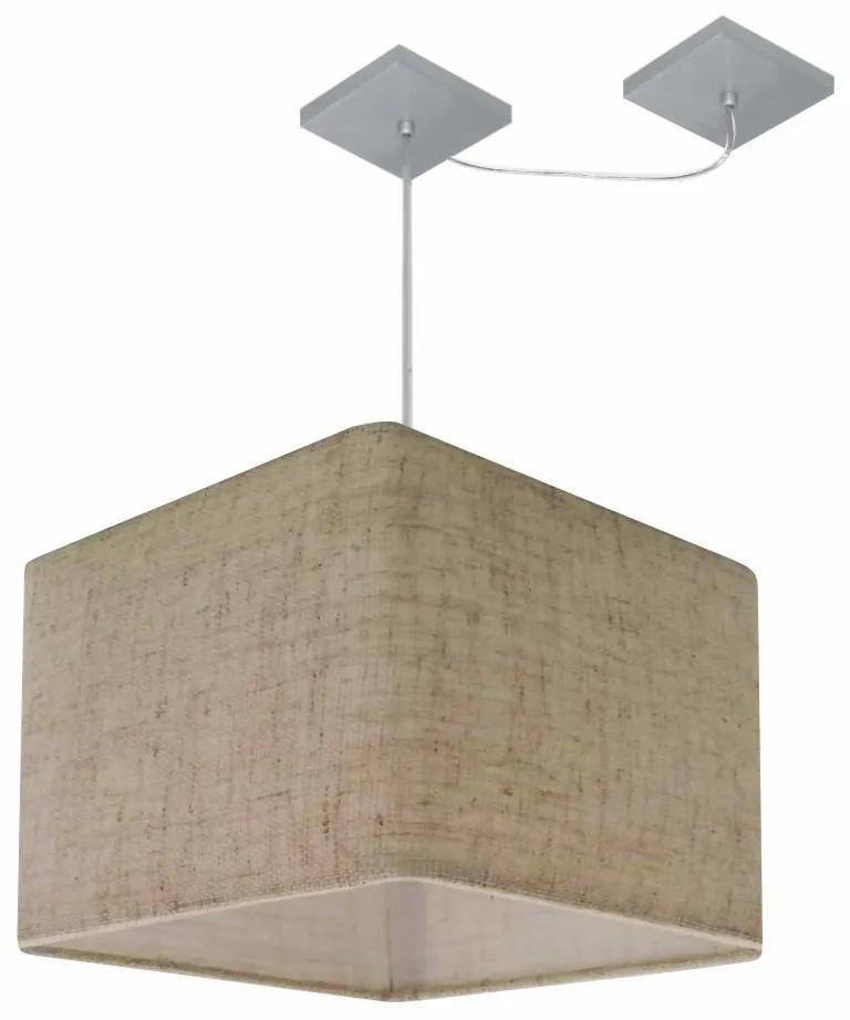 Lustre Pendente Quad C/ Desvio Md-4269 Cúpula em Tecido 30/40x40cm Rustico Bege - Bivolt