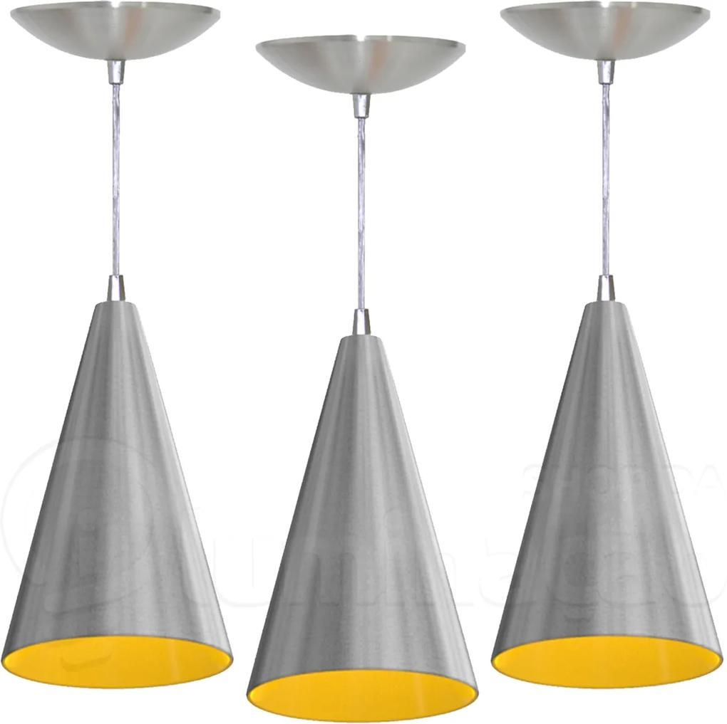Kit 3 Pendentes Cone (escovado / Amarelo)