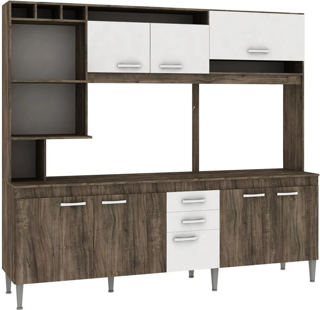 Cozinha Compacta Helen C/ Tampo Naturalle/Branco Fellicci Móveis