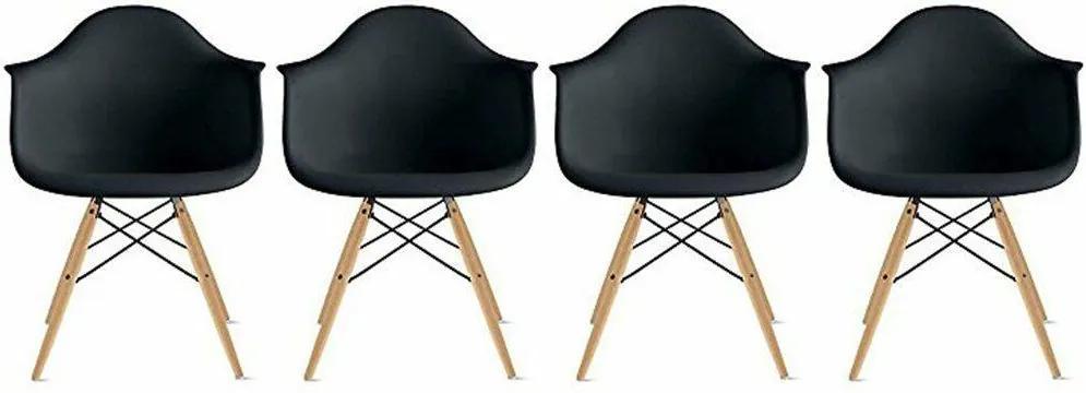 Conjunto 4 Cadeiras Eiffel Eames DAW Preta