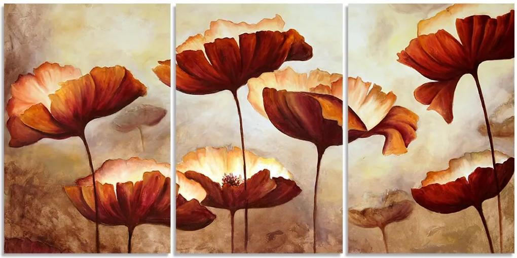 Quadro Decorativo Para Sala Flor Abstrato Bege