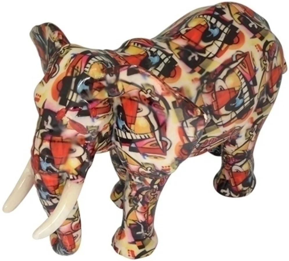 escultura elefante SOMALIA cerâmica colorido 29 cm Ilunato XD0161