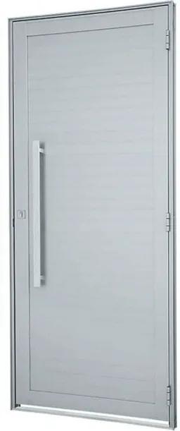 Porta de Abrir com Lambri Horizontal e Puxador Alumínio Branco Alumifort Esquerda 216x98x5,4cm - 76262535 - Sasazaki - Sasazaki