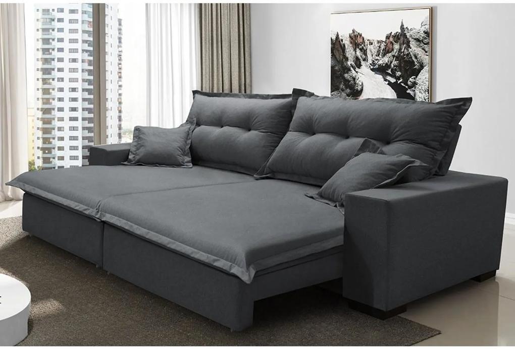 Sofá Retrátil e Reclinável com Molas Ensacadas Cama inBox Prime 3,12m Tecido Linho Cinza Escuro