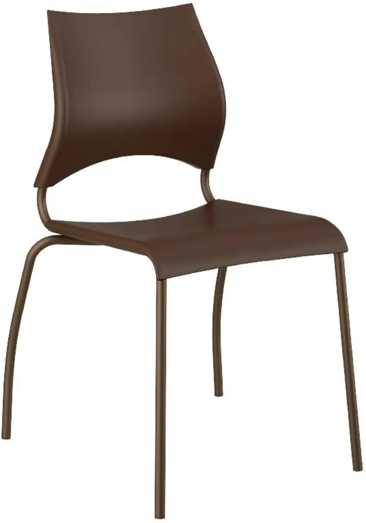 Cadeira Tubo Bronze Assento Marrom Carraro