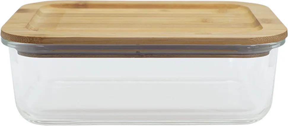 Pote De Vidro Retangular De 1040ml Com Tampa De Bambu - Oikos