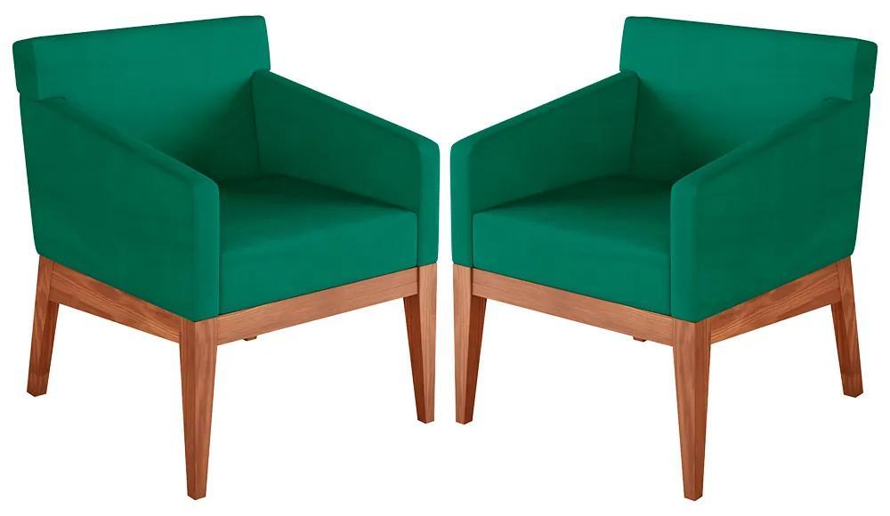 Kit 2 Poltronas Decorativas Sala de Estar Guardian Veludo Verde - Gran Belo