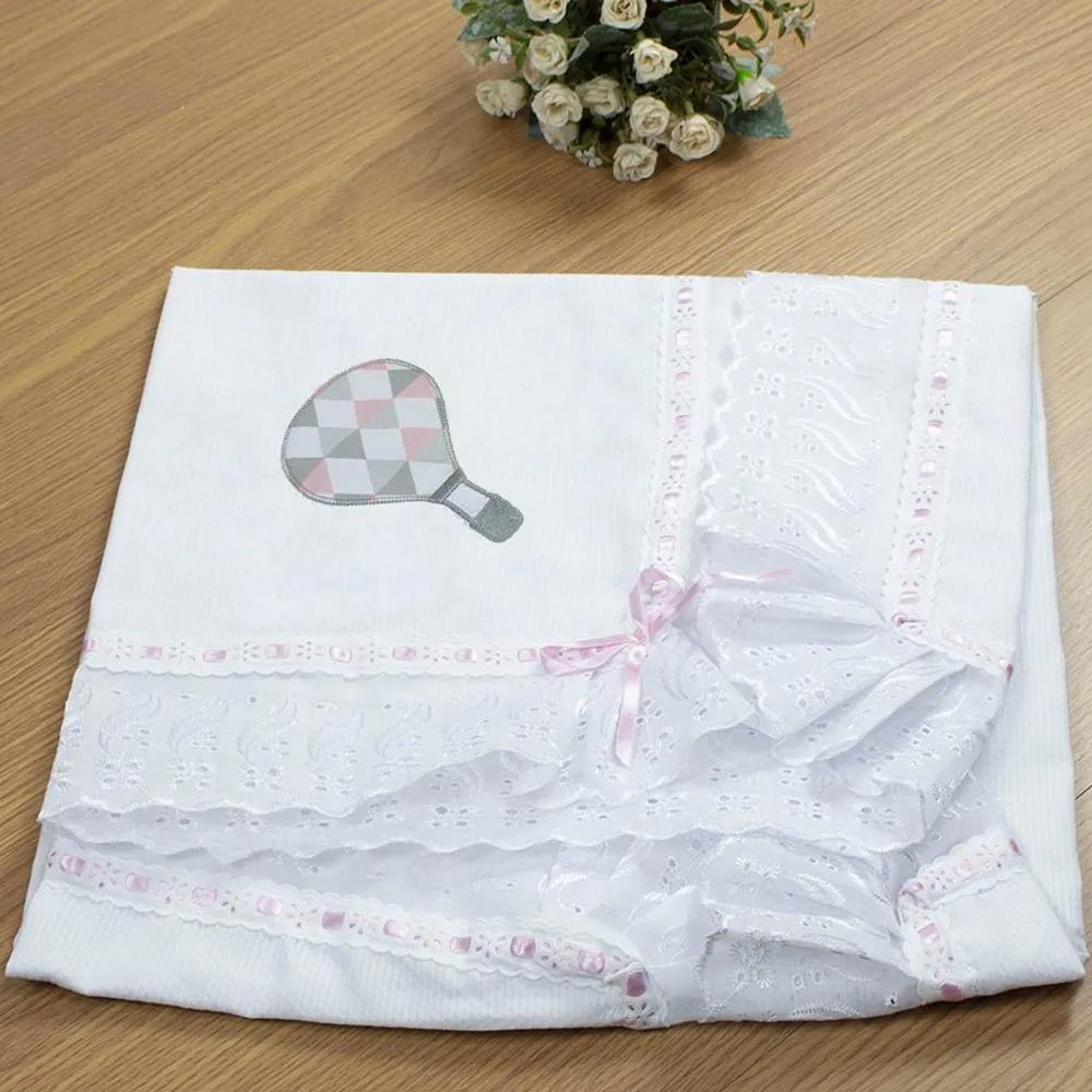 Manta de Bebê Branco Balão Rosa Piquet