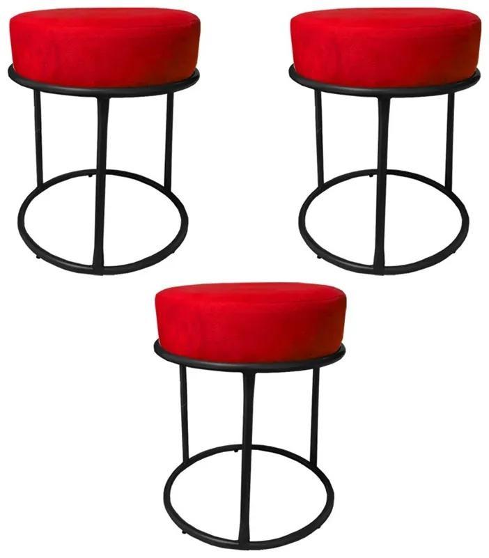 Kit 3 Puffs Decorativos Redondos Luxe Base de Aço Preta Suede Vermelho - Sheep Estofados - Vermelho