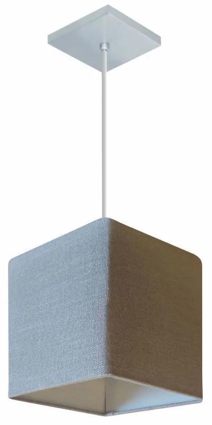 Lustre Pendente Quadrado Md-4224 Cúpula em Tecido 16/16x16cm Rustico Cinza - Bivolt