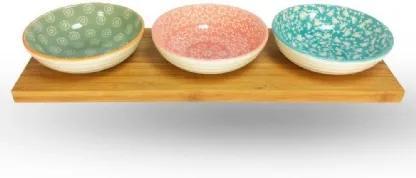Petisqueira de Cerâmica Redonda com Suporte Bambu 4 peças