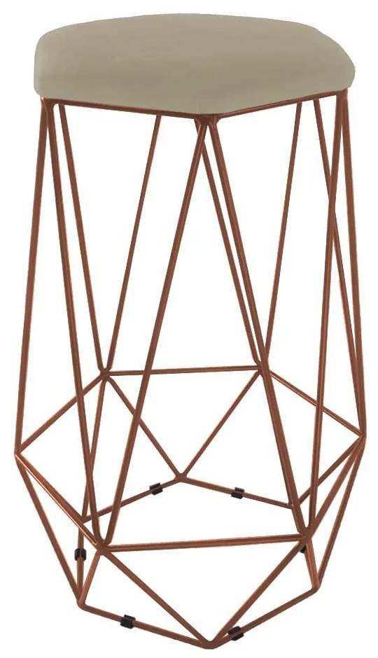 Puff Banqueta Aramado Eiffel Hexágono bronze Assento Nude