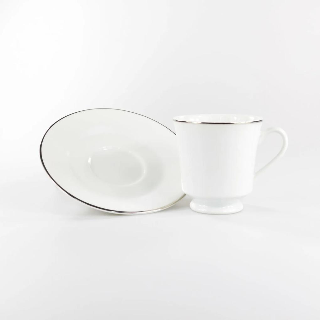 Xícara Chá com Pires 200 ml Porcelana Schmidt - Dec. Filetado Prata Itamaraty