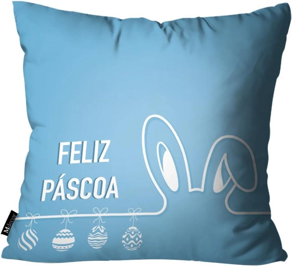 Capa para Almofadas Mdecore de Páscoa Azul 45x45
