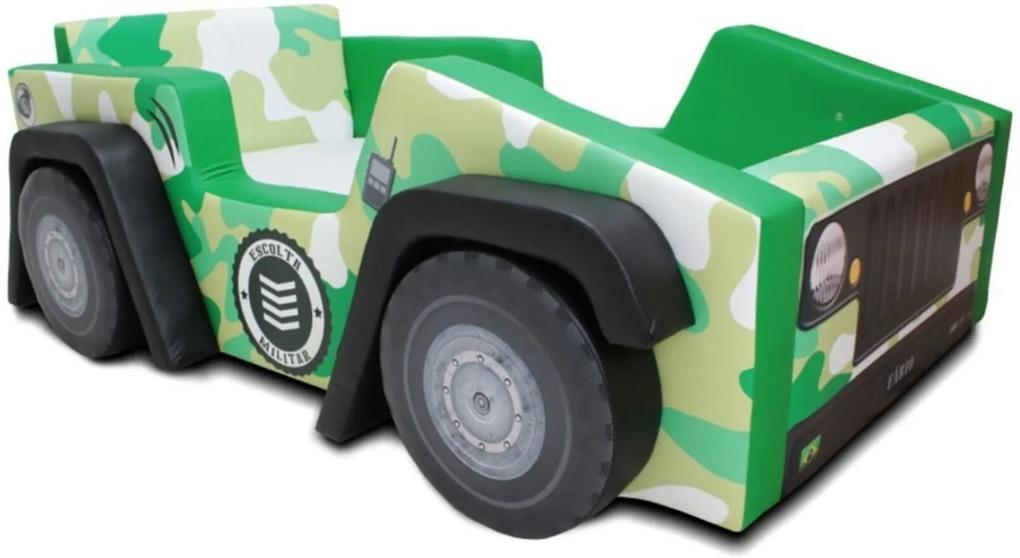Cama Cama Carro Infantil Jeep Exército Verde