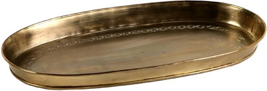 Bandeja Decorativa Oval de Alpaca Índia Ouro