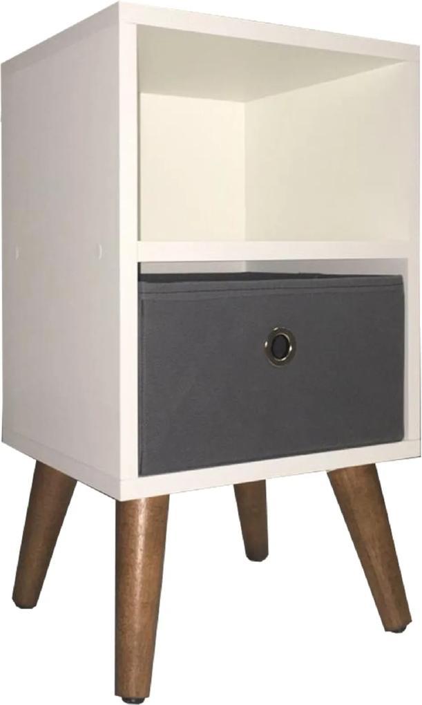 mesa de cabeceira organibox pé palito cinza 1 gaveta