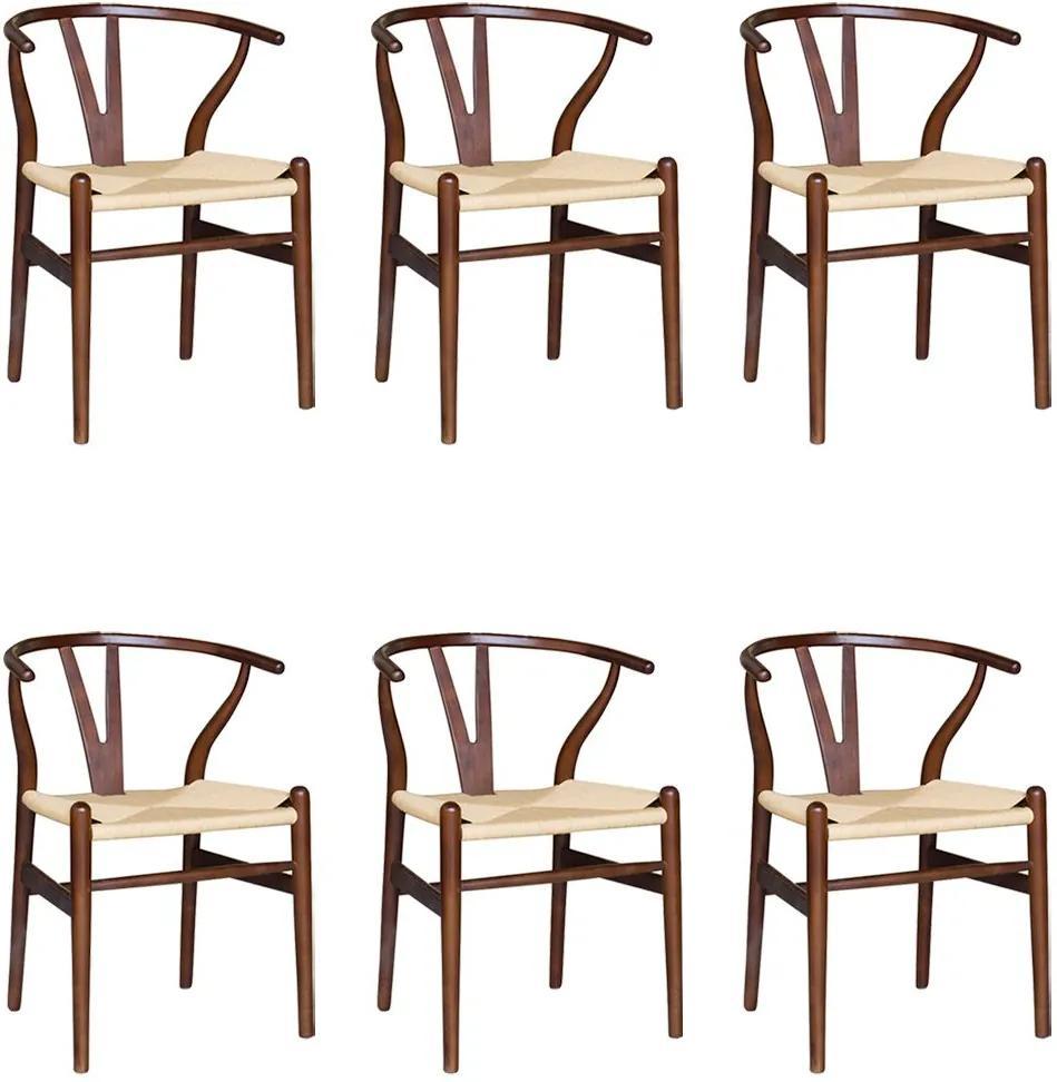 Kit 6 Cadeiras Decorativas Sala de Jantar e Cozinha Bella Madeira Bétula Tabaco - Gran Belo