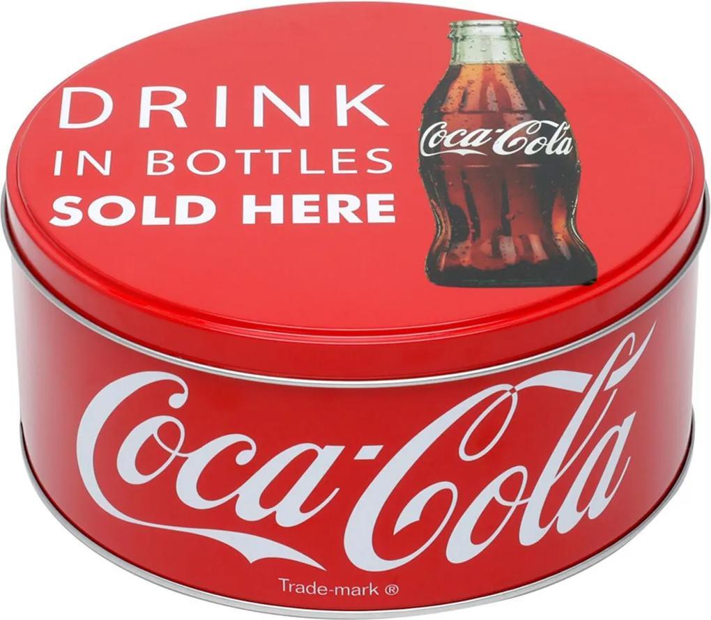 Lata De Metal Round Coca-Cola Drink In Bottle Vermelho 17X17X7,1 Cm Urban