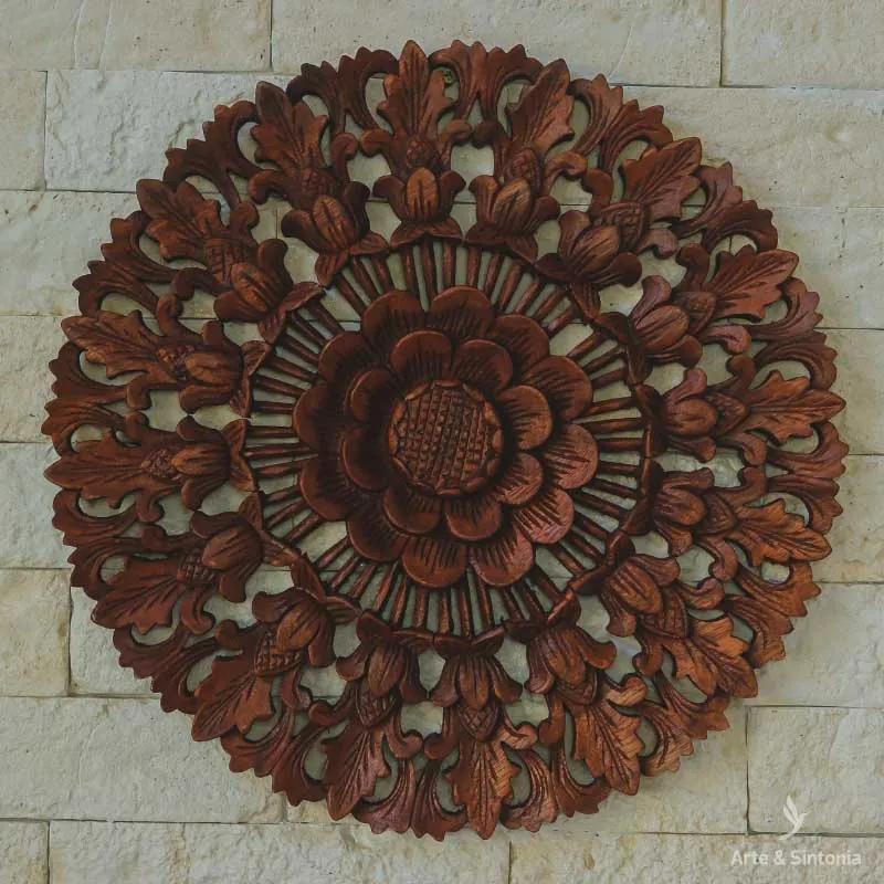 Mandala Floral Entalhada 40cm | Bali